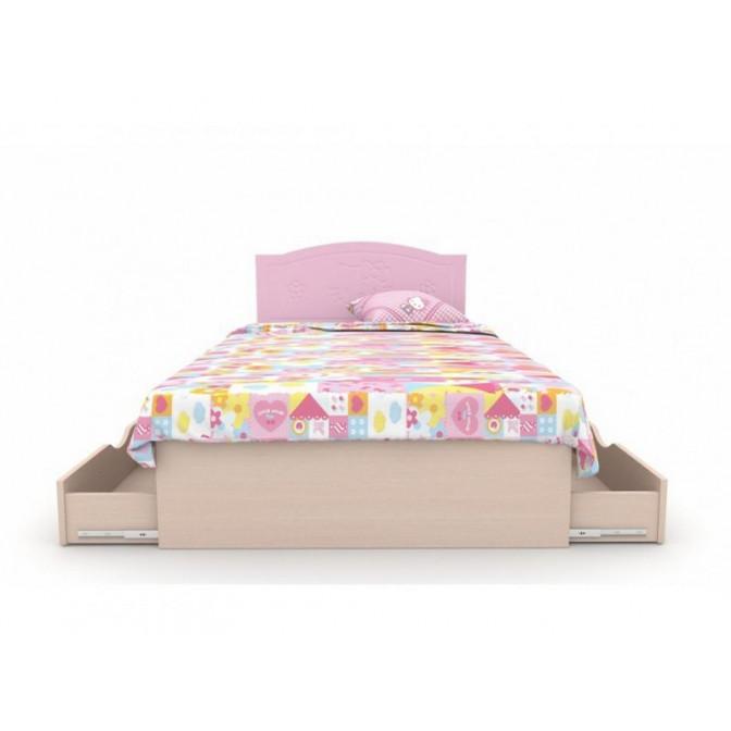 Кровать Kiddy 2 ящика 90*190 Розовый + венге светлый Вальтер
