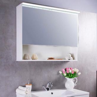 Зеркальный шкафчик MC-Okinava 90 белый Fancy Marble