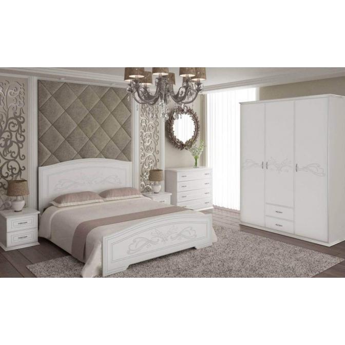 Кровать Анабель Неман (белый супермат + патина серебро)