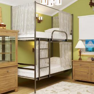 Двухъярусная металлическая кровать Дуо шторки Метакам