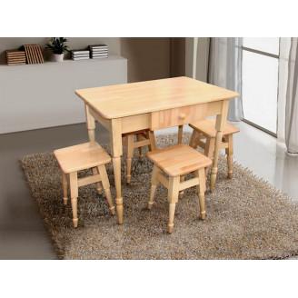 Комплект Кухонный массив бука стол  +  4 табурета Бук светлый Микс Мебель