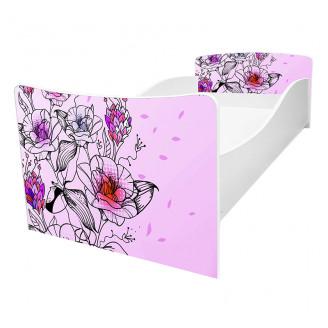 Кровать детская Viorina-deko Kinder-62 цветы розовый фон new
