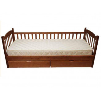 Детская кровать Юниор 1 забор с ящиками 90*200 Темный орех Микс Мебель