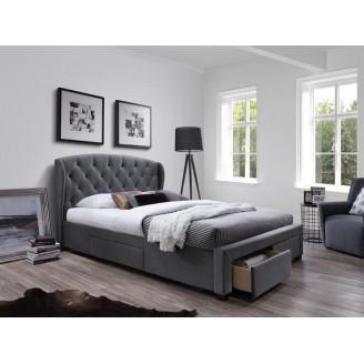 Кровать с ящиками Sabrina 160*200 серая Halmar