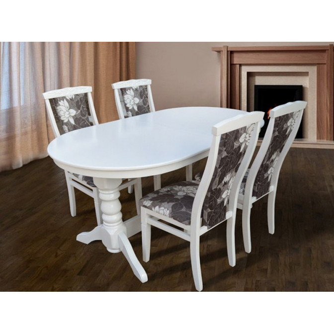 Стол обеденный Говерла 160  + 40*90 Белый Микс Мебель