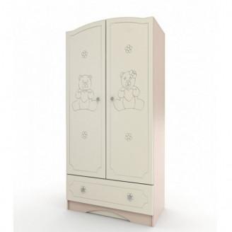 Шкаф платяной Мишка Ваниль + венге светлый Вальтер