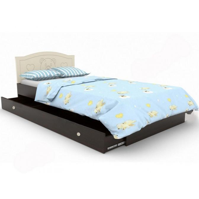Детская кровать Мишка  +  ящик 90*190 Ваниль + орех темный Вальтер