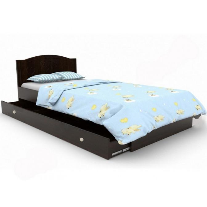 Детская кровать Мишка  +  ящик 90*190 Орех + венге темный Вальтер