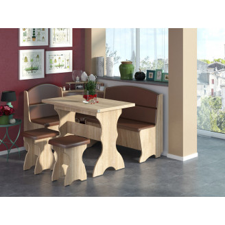 Кухонный уголок Сенатор с раскладным столом  +  2 табурета Пехотин